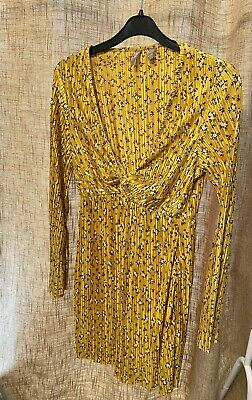 £1 • Buy ASOS Plisse Top…mustard/yellow Floral Size 14 Worn Once