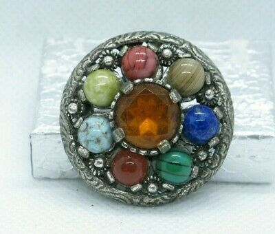 £5.50 • Buy Vintage Scottish Signed MIRACLE Agate Glass Silver Tone Pin Brooch / Pendant