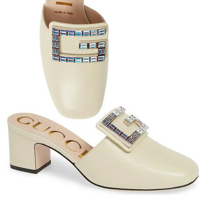 AU550.61 • Buy Gucci Shoes Madelyn Crystal G Buckle White Leather Mules $890 It 38 Us 8
