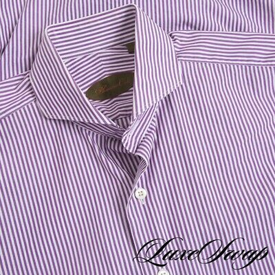 £7.31 • Buy Phineas Cole Made In Canada White Lavender Bengal Stripe French Cuff Shirt 15 34