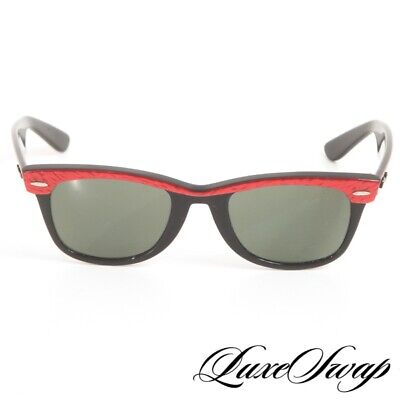 AU55.20 • Buy RARE Vintage 1960s Ray Ban Made In USA B&L Red Marbled Wayfarer Sunglasses NR