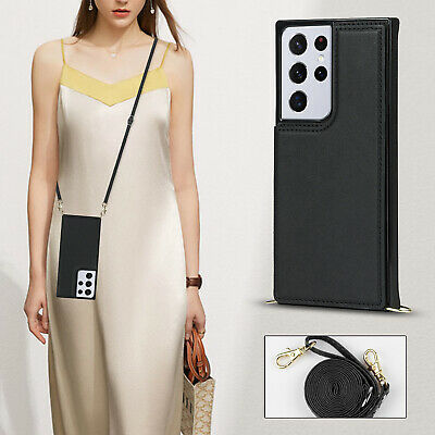 AU19.99 • Buy Crossbody Card Case  With Long Rope Holder Flip Leather Phone Bag Case Cover