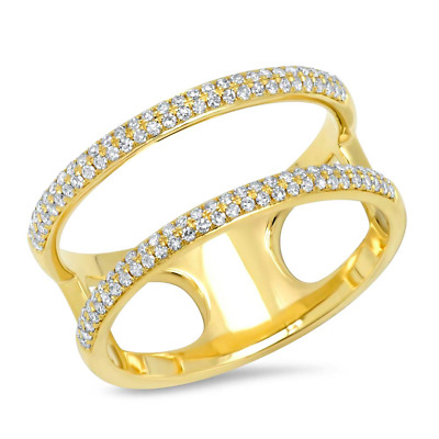 AU1680.50 • Buy 0.30CT 14K Yellow Gold Round Diamond Pave 2 Band Rows Open Wrap Statement Ring