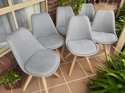 AU198 • Buy 6 Oz Design Dima Corsica Grey Fabric Chairs With Oak Legs. Very Good Condition.