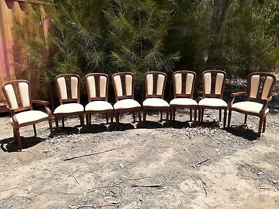 AU160 • Buy 6 X Wooden Italianate Chairs & 2 Carvers With Leather Seat & Decorative Back