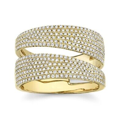 AU3771.28 • Buy Diamond Bypass Wrap Ring 14K Yellow Gold Statement Open Cocktail 0.80CT Natural