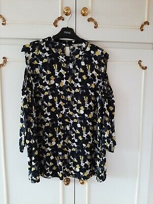 £4.50 • Buy TU Black White Lime Green Print Sleeved Tunic Style Blouse Bare Shoulder Size 14