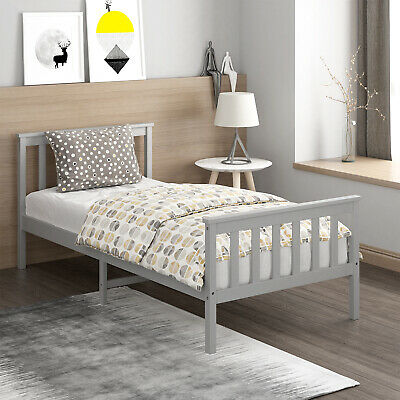 £55.99 • Buy Grey Wooden Bed Frame Pine Single Size Solid Pine Wood 3ft Fast Delivery