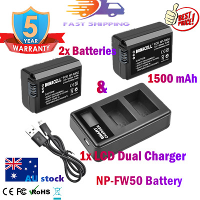 AU28.99 • Buy 2x 1500mAh NP-FW50 Battery + 1x  LCD Charger For Sony A6000 A6300 A6500 A5000 AU