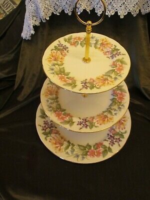 £19 • Buy Lovely Paragon China  Plated 3 Tier Cake Stand  Country Lane Design