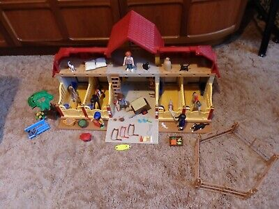 £60 • Buy Playmobil Large Horse Farm Stables Set 5221 Animals Figures & Extras Incomplete
