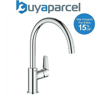 £74.95 • Buy Grohe 31367 BauEdge Chrome Single Lever Kitchen Sink Mixer Tap Swivel High Spout