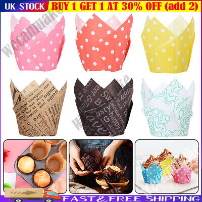£5.19 • Buy 50/100Pcs Tulip Muffin Cases Cupcake Wraps Multiple Colours Wrapper Xmas Party