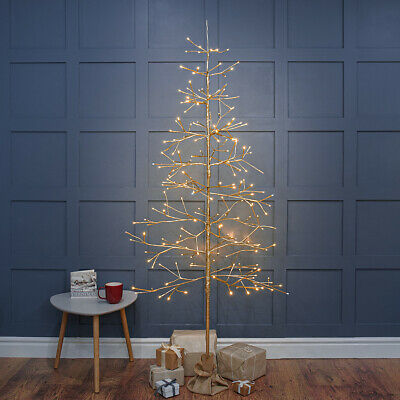 £48.99 • Buy 2ft-6ft Plug In LED Pre Lit Christmas Champagne Gold Twig Tree Table Decoration