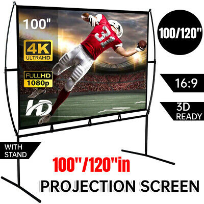 AU132.18 • Buy 100/120  16:9 4K Projector Screen In/Outdoor Cinema Theatre Projection W/Stand A