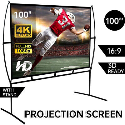 AU121.80 • Buy Portable Fold Projector Screen HD Outdoor Cinema Theater 3D Movie 16:9 W/Stand
