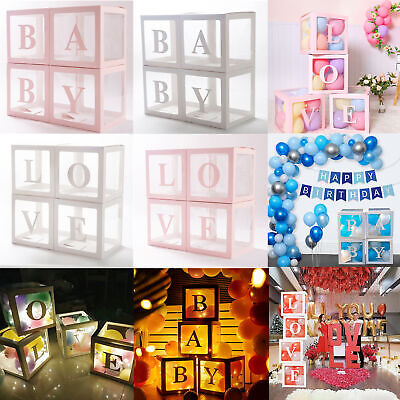 AU16.99 • Buy 3Pcs/4Pcs Balloon BABY Box Cube Clear Boxes Birthday Baby Shower Party Gift AU