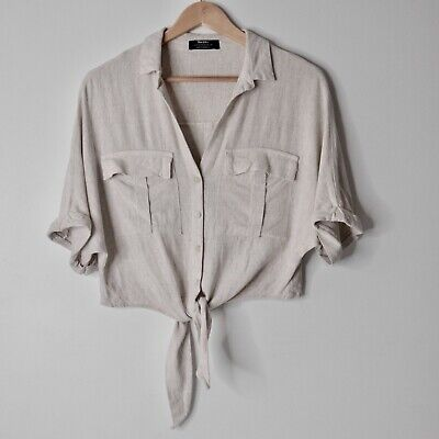 AU32 • Buy Bershka Tie Front Collared Crop Top Relaxed Oatmeal Linen Viscose Blouse Size XS