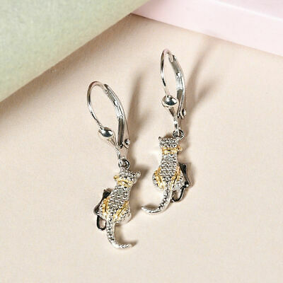 £18.99 • Buy TJC Drop Dangle White Diamond Earrings Platinum And Gold Plated Sterling Silver