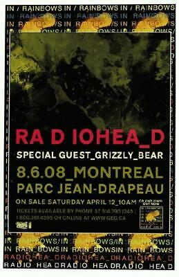 $20 • Buy Radiohead Grizzly Bear Montreal Concert Poster 2008