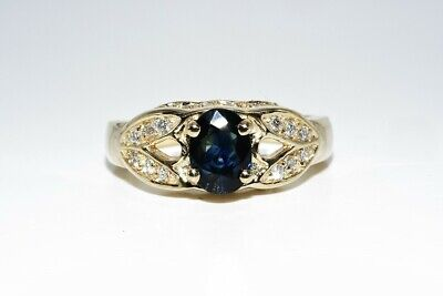 AU139.40 • Buy 1.61ct Natural Blue Sapphire & Diamond Cocktail Ring 14k Yellow Gold