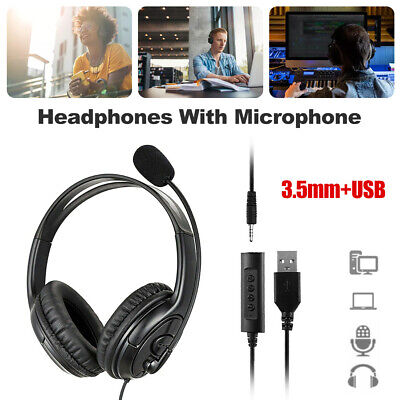 £12.65 • Buy Headphones Noise Canceling Headset Stereo With Microphone For Skype PC Laptop UK