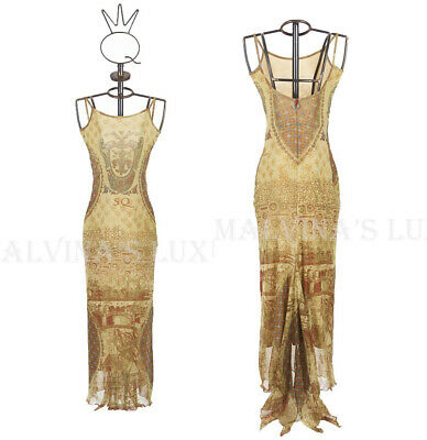 AU185.07 • Buy SAVE THE QUEEN LONG DRESS FLORENCE PRINT STRETCH TULLE Sz L