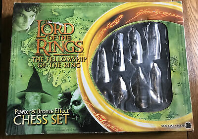 £29.99 • Buy Lord Of The Rings Fellowship Chess Set Pewter Bronze (2001) Complete