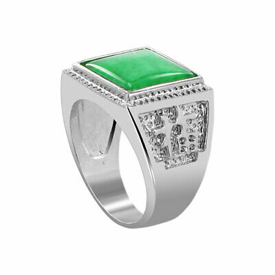 £6.52 • Buy Men's Silver Plated Green Gemstone 13mm Square Shape Ring Size 8 - 11
