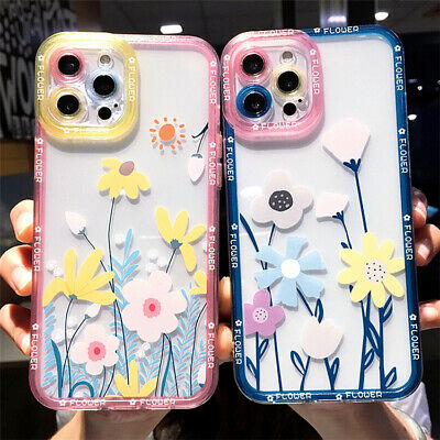 £5.99 • Buy New Floral Designs Transparent TPU Phone Case With Colour Edge For IPhones 6-13