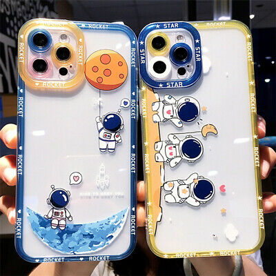 £5.99 • Buy New Astronaut Design Transparent TPU Phone Case With Colour Edge For IPhone 6-13
