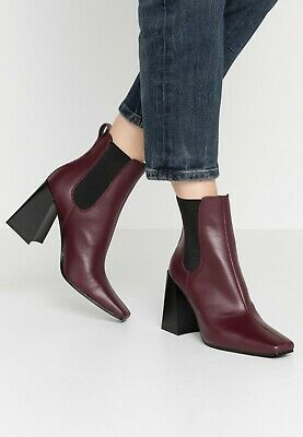 £9.99 • Buy Topshop HARBOUR Burgundy Leather Pull On Heeled Square Toe Chelsea Ankle Boot 5