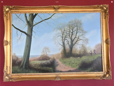 £1450 • Buy EDWARD HERSEY OIL PAINTING ENGLISH COUNTRYSIDE HORSES HOUNDS HUNTING 1980's 1984