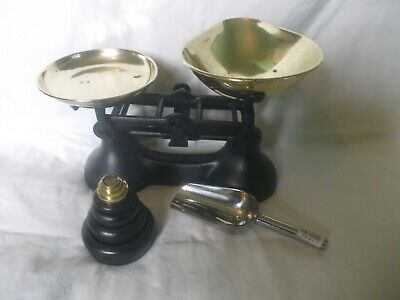 £15 • Buy Vintage Salter Staffordshire Black Cast Iron Balance Scales 8 Weights New Scoop