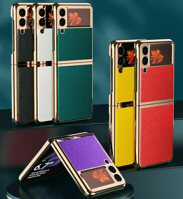 AU17.56 • Buy For Samsung Galaxy Z Flip 3 Cross Texture Platin Cover Luxury Protective Case
