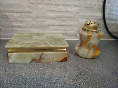 £15 • Buy Antique Onyx Marble Cigarette Box And Matching Lighter