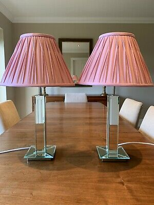 £59 • Buy Pair Of Vintage BHS Mirrored Glass Bedside Lamps With Laura Ashley Silk Shades