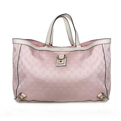 AU398 • Buy GUCCI Monogram Tote Bag - Pink GG With Off White Details