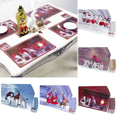 AU22.83 • Buy 6PCS Christmas  Creative  Printing Dining Table Cup Coasters Washable Decor Mats
