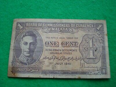 £4.99 • Buy 1941 Malaya One Cent Banknote Nice Collectable Condition.
