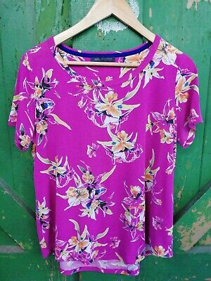 £3.50 • Buy M&s Collection Magenta Pink Tropical Flower Print T-shirt Size 14