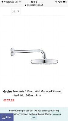 £46 • Buy Grohe Tempesta 210mm Wall Mounted Shower Head With 268mm Arm