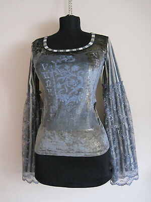 AU91.97 • Buy Ladies SAVE The QUEEN Grey Geometric Long Sleeve Nylon Jumper Size S