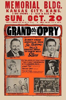 $12 • Buy Country: Willie Nelson & Tex Ritter At Kansas City Concert Poster 1961  12x18