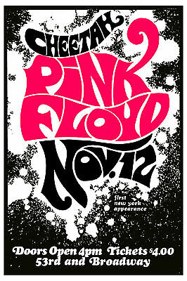 $12 • Buy Classic Rock: Pink Floyd At Cheetah Club In New York Concert Poster 1967  12x18