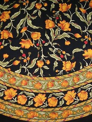£25.41 • Buy French Floral Round Cotton Tablecloth 70  Amber On Black