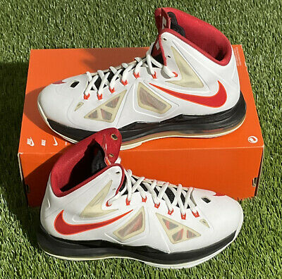 $79.99 • Buy Nike LeBron 10 Heat Home 2013 Men's Size 8 White Red 541100 100 Basketball Shoes