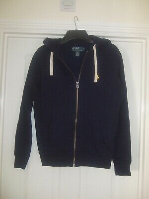 £6.99 • Buy POLO BY RALPH LAUREN Size Small Navy Blue Brushed Lined Zip Up Hoody Sweatshirt