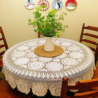 AU50.99 • Buy 130cm Round Cotton Crochet Lace Tablecloth White Woven Dining Table Cover Doily
