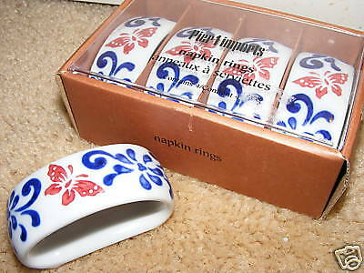 Set Of 4 Ceramic Napkin Rings By Pier 1 Butterfly New • 5.15£